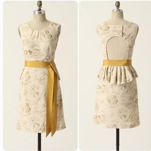 Moulinette Soeurs Cream and Gold Floral Dress